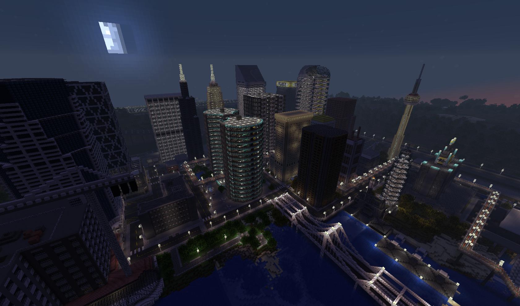 Map-ville-newcraft-vecter-city-minecraft-nuit