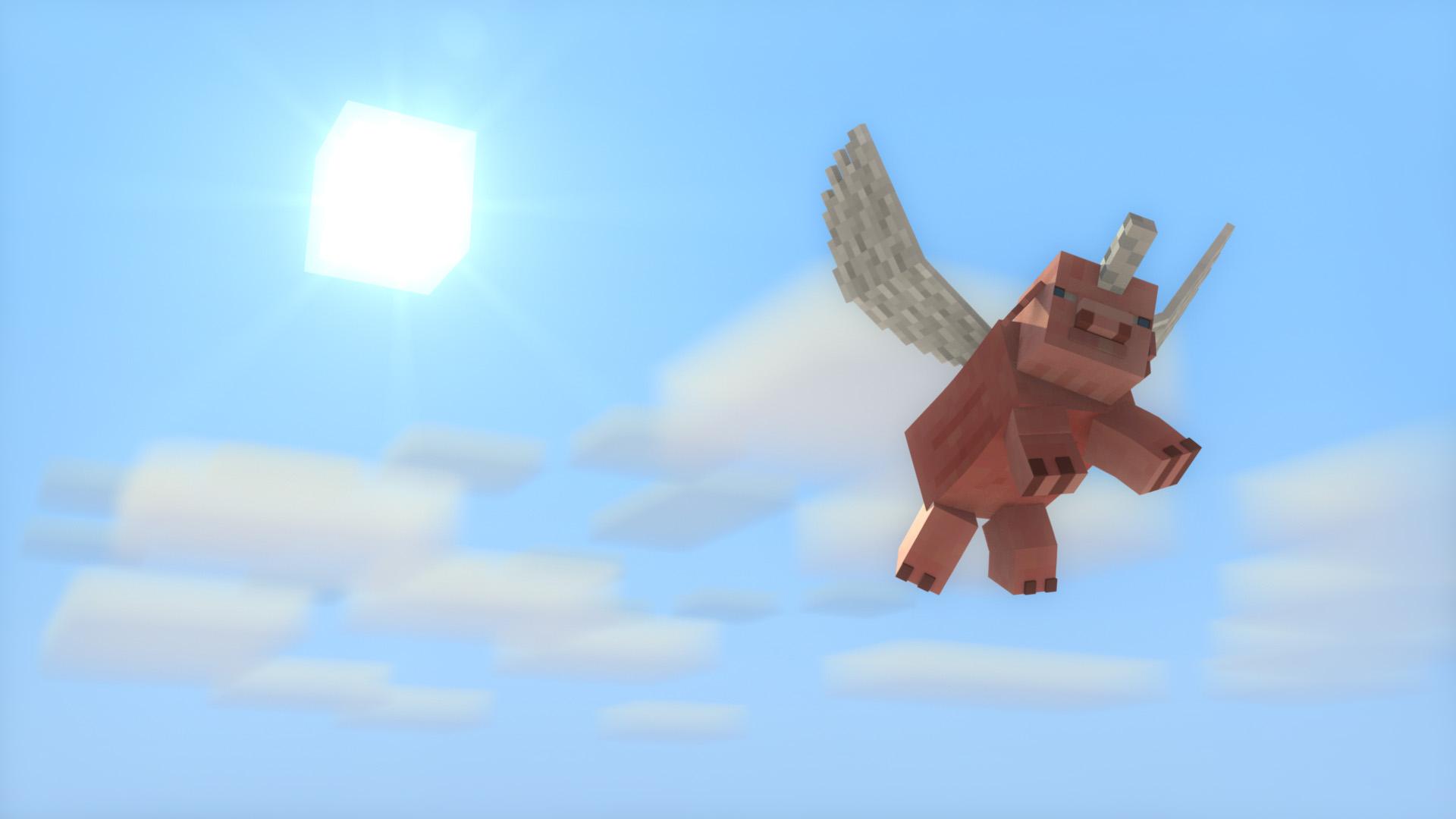 fond-d-écran-minecraft-cochon-volant