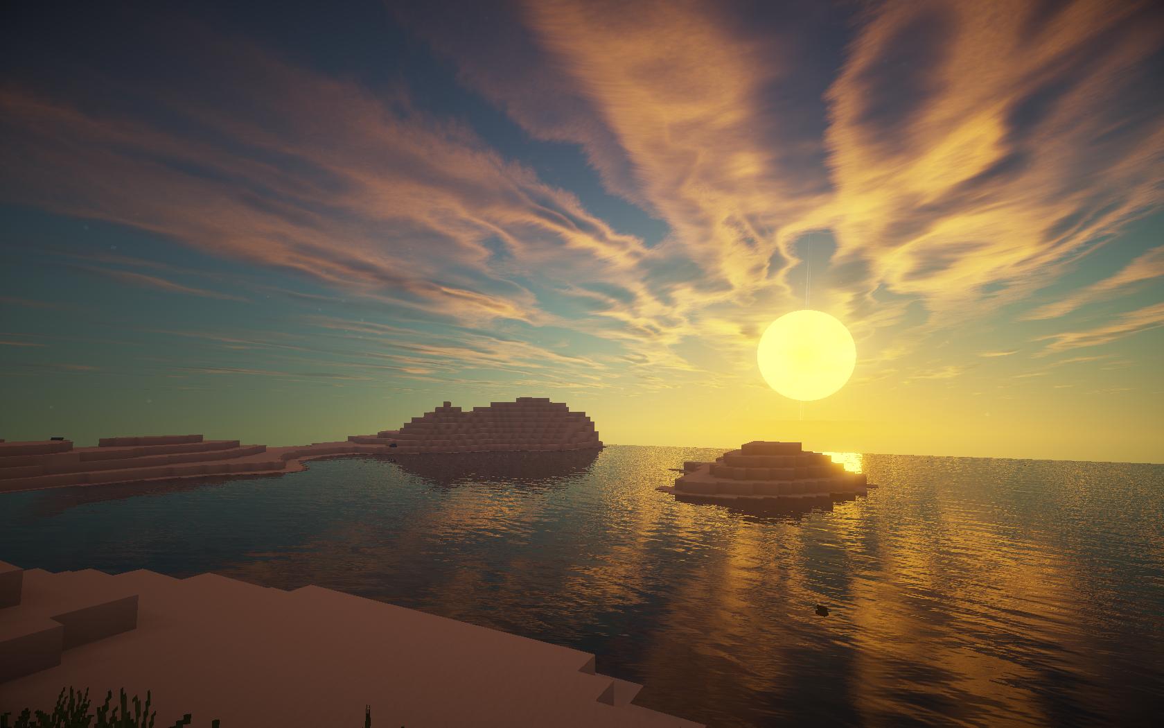 fond-d-écran-minecraft-mer-coucher-soleil