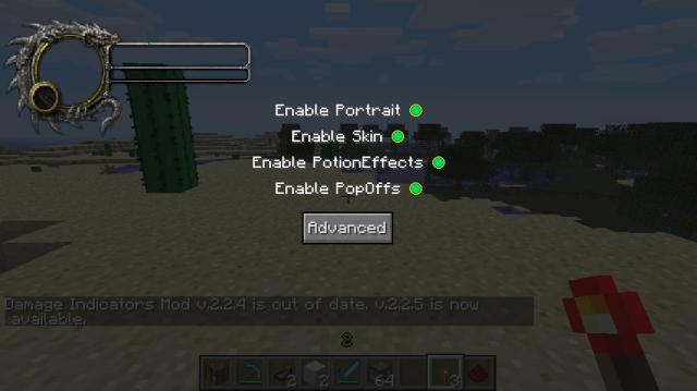 minecraft-mod-Damage Indicators-parametrage