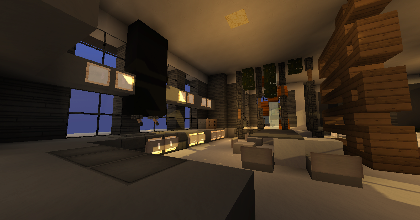 Map : modern mountain house : minecraft aventure