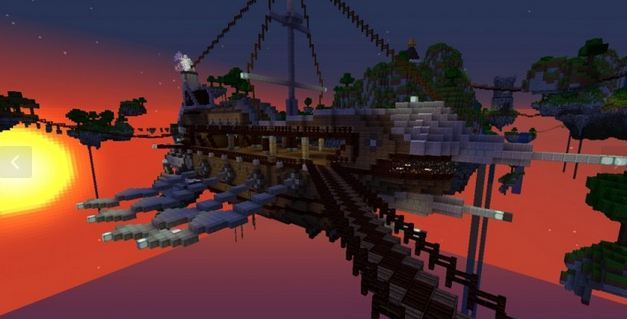 minecraft map survival game Caelum Mundi II bateau volant