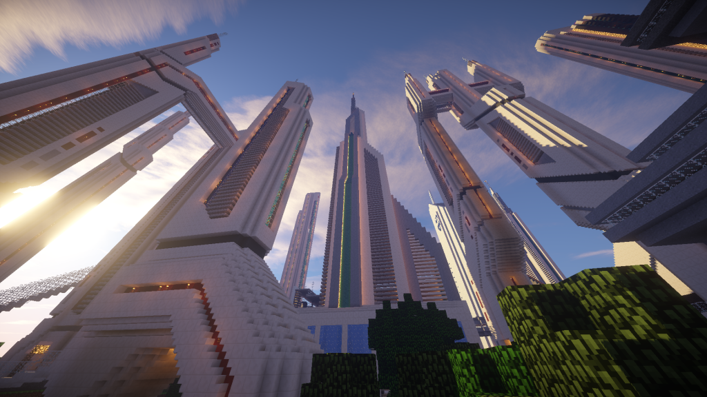 minecraft map ville future city gratte ciel