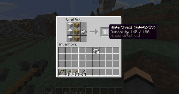minecraft Snapshot 15w33c craft bouclier