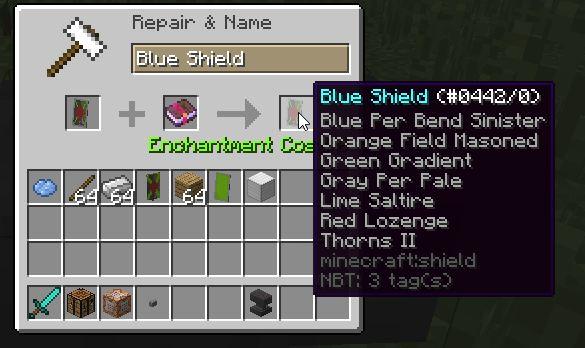 minecraft Snapshot 15w33c enchanter bouclier