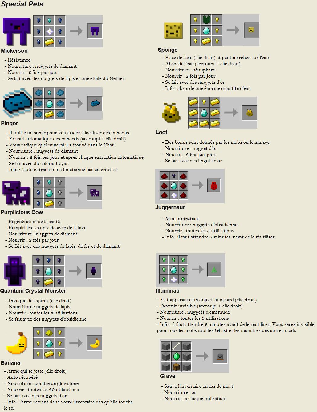 minecraft mod inventory pets spécial craft