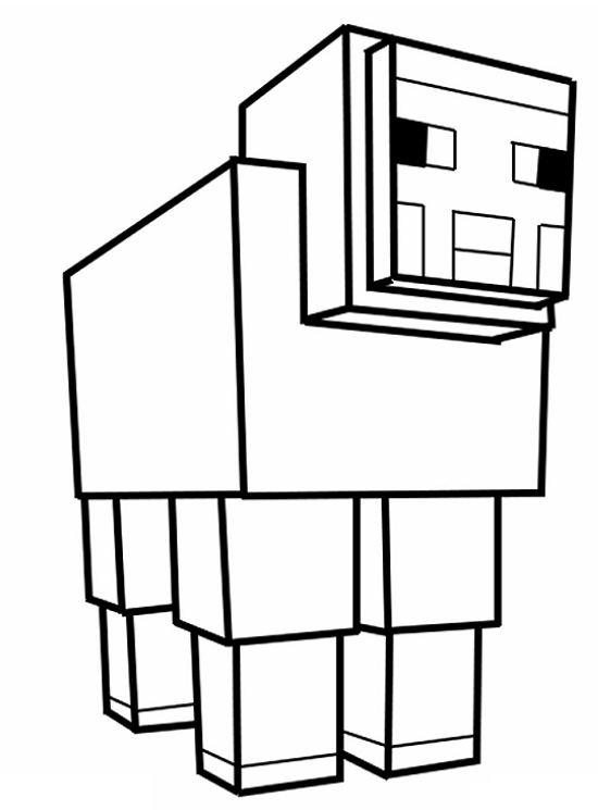 coloriage mouton minecraft : Minecraft-aventure.com