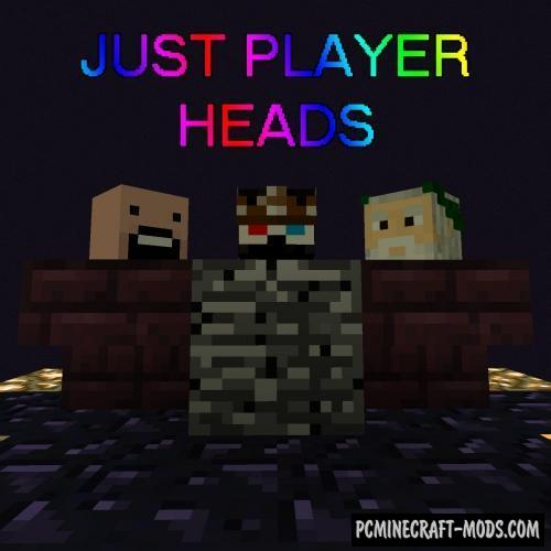 Just Player Heads - Tweak Mod For Minecraft 1.17.1, 1.16.5