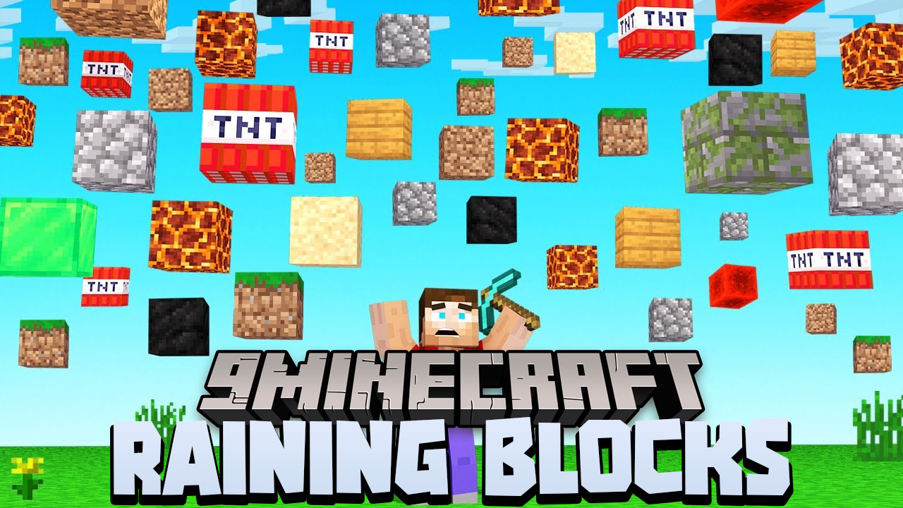 Minecraft But It's Raining Random Blocks Data Pack Thumbnail